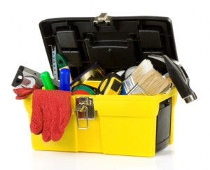 tools and instruments in plastic box
