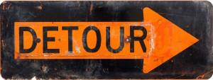 Detour sign - old orange and black  road sign