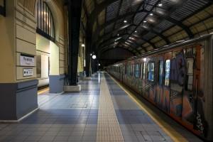 train at metro station awaiting departure