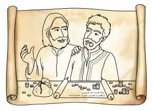Pergamena antica: Ges Cristo incontra Matteo