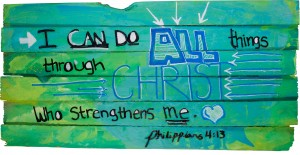 Philippians 4:13 hand painted by a child on wooden shim canvas